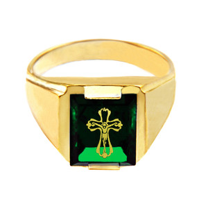 Solid Yellow Gold Green CZ Stone Crucifix Signet Men's Ring