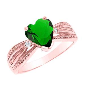Beautiful Rose Gold Emerald (LCE) and Diamond Proposal Ring