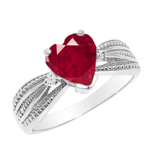 Beautiful White Gold Ruby (LCR) and Diamond Proposal Ring