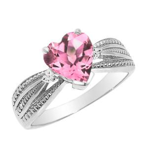 Beautiful White Gold Pink CZ and Diamond Proposal Ring