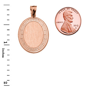Greek Key Rose Gold Engravable Oval Pendant