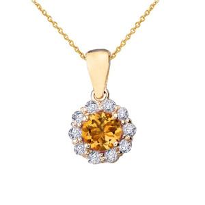 14k Yellow Gold Dainty Floral Diamond Center Stone Citrine Pendant Necklace