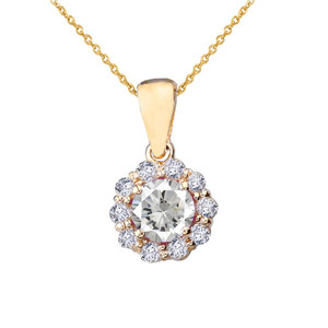 14k Yellow Gold Dainty Floral Diamond Center Stone White Topaz Pendant Necklace