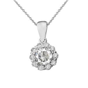 14k White Gold Dainty Floral Diamond Center Stone White Topaz Pendant Necklace