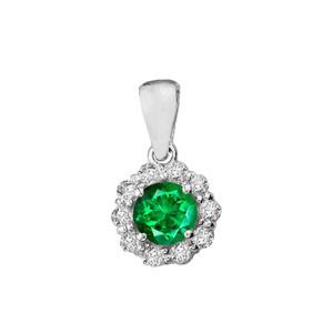 14k White Gold Dainty Floral Diamond Center Stone Emerald Pendant Necklace