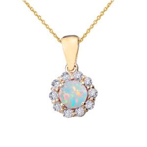 14k Yellow Gold Dainty Floral Diamond Center Stone Opal Pendant Necklace