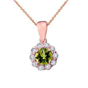 14k Rose Gold Dainty Floral Diamond Center Stone Peridot Pendant Necklace
