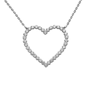 Two-Sided Statement Beaded Heart Necklace in 14k White Gold