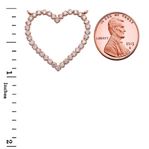 Two-Sided Statement Beaded Heart Necklace in 14k Rose Gold