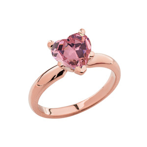 Rose Gold Solitaire  Pink CZ Heart Engagement Ring