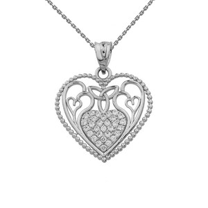 Diamond Heart Pendant With Trinity Knot and Filigree Hearts Design in White Gold