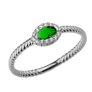 White Gold  Emerald (LCE) & Diamond Solid Rope Ring