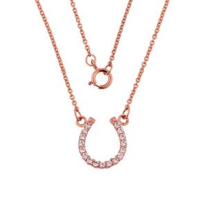 14K Rose Gold Diamonds Studded Horseshoe Necklace