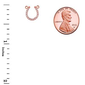 14K Rose Gold Cubic Zirconia Horseshoe Necklace