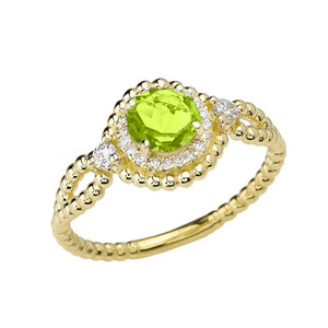 Diamond Engagement Ring Yellow Gold Rope Double Infinity Center Peridot