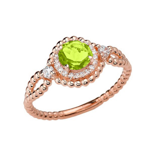 Diamond Engagement Ring Rose Gold Rope Double Infinity Center Peridot