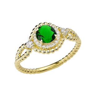 Diamond Engagement Ring Yellow Gold Rope Double Infinity Center Emerald (LCE)