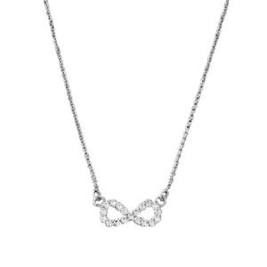 14K Dainty White Gold Diamond Infinity Necklace
