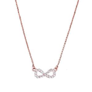 14K Dainty Rose Gold Diamond Infinity Necklace