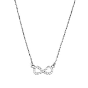 14K Dainty White Gold Infinity Necklace
