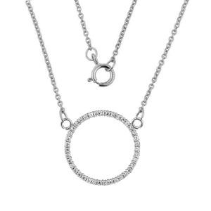 "14k White  Gold ""Circle of Love"" Diamond Necklace (0.65"")"