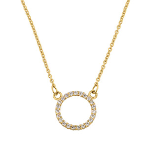 """14k Yellow Gold """"Circle of Love"""" Necklace (0.65"""")"""