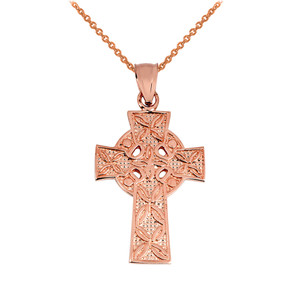 Rose Gold Irish Celtic Cross Pendant
