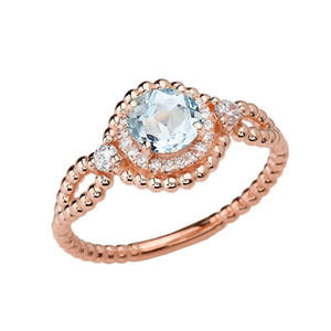 Diamond Engagement Ring Rose Gold Rope Double Infinity Center Aquamarine