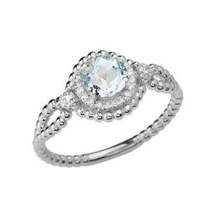 Diamond Engagement Ring White Gold Rope Double Infinity Center Aquamarine