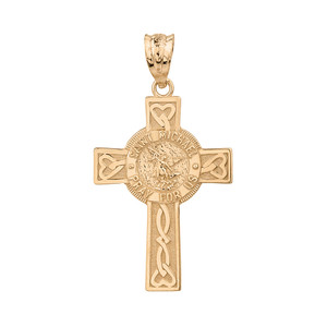 Solid Yellow Gold Saint Michael Pray For Us Celtic Cross Pendant Necklace