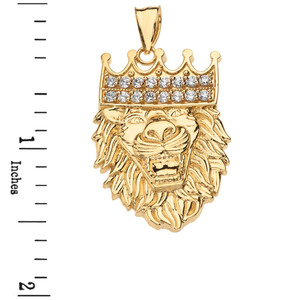 Solid Yellow Gold Double Sided Text Embossed Cubic Zirconia Lion King Pendant Necklace