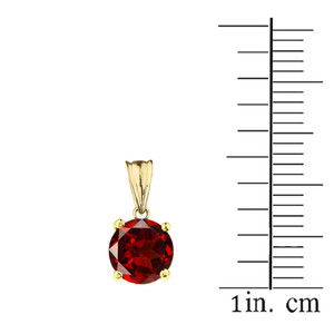 10K Yellow Gold January Birthstone Garnet (LCG) Pendant Necklace & Earring Set