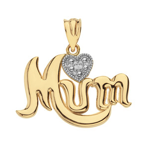 Solid Yellow Gold  Rhodium Heart Diamond Cursive Mum Pendant Necklace