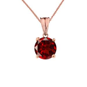 10K Rose Gold January Birthstone Garnet (LCG) Pendant Necklace
