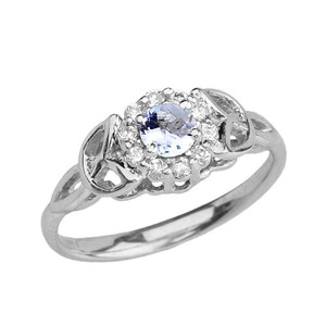 White Gold  Diamond and Aquamarine  Engagement/Promise Ring