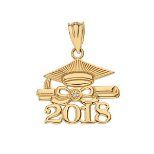 Solid Yellow Gold Diamond  Class of 2018 Cap and Diploma Pendant Necklace