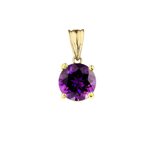 10K Yellow Gold February Birthstone Amethyst (LCAM) Pendant Necklace