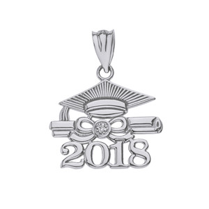 Sterling Silver Cubic Zirconia Class of 2018 Cap and Diploma Pendant Necklace
