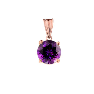 10K Rose Gold February Birthstone Amethyst (LCAM) Pendant Necklace