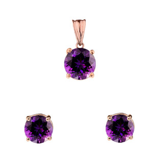 10K Rose Gold February Birthstone Amethyst (LCAM) Pendant Necklace & Earring Set