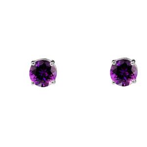 10K White Gold February Birthstone Amethyst (LCAM) Earrings