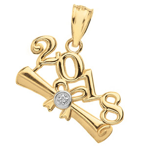 Solid Yellow Gold Diamond  Class of 2018  Diploma Pendant Necklace
