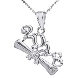 Sterling Silver Cubic Zirconia Class of 2018  Diploma Pendant Necklace