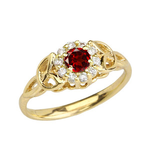 Yellow Gold  Diamond and  Garnet  Engagement/Promise Ring