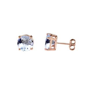 10K Rose Gold March Birthstone Aquamarine (LCAQ) Pendant Necklace & Earring Set