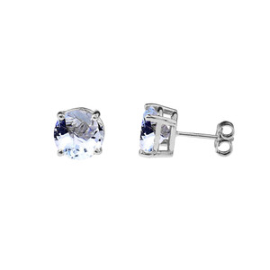 10K White Gold March  Birthstone  Aquamarine (LCAQ) Earrings