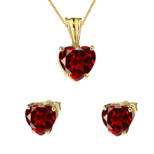 10K Yellow Gold Heart January Birthstone Garnet (LCG) Pendant Necklace & Earring Set