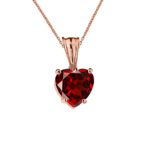 10K Rose Gold Heart January Birthstone Garnet (LCG) Pendant Necklace