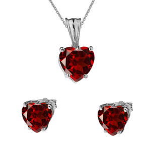 10K White Gold Heart January Birthstone Garnet (LCG) Pendant Necklace & Earring Set