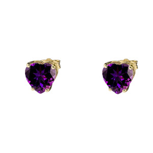 10K Yellow Gold Heart February Birthstone Amethyst (LCAM) Earrings